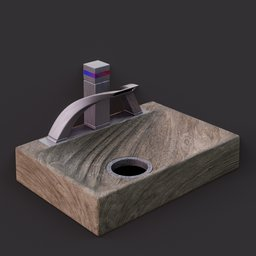 Thumbnail: Wooden basin with brushed metal tap