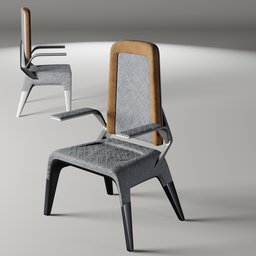 Thumbnail: Fabric and metal chair 1 (arm rest version)