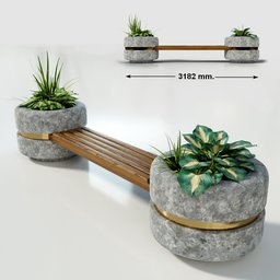 Thumbnail: Bridge bench between two planters