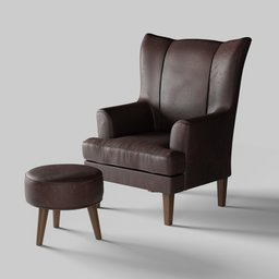 Thumbnail: Leather Chair with Footstool