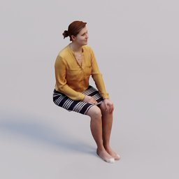 Thumbnail: 3D soul- sitting young woman Petra